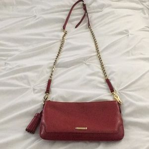 Red Pebble Leather Burberry Crossbody w Gold Chain